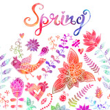 Spring coming card. Floral background, spring theme, greeting ca