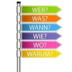 Wegweiser W-Fragewörter