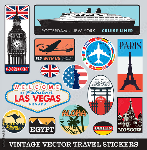 Vector images of vintage travel stickers