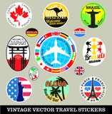 Vector images of vintage travel stickers poster
