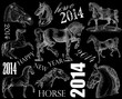 New Year design horse 2014