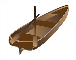 brown rowing boat on a white background