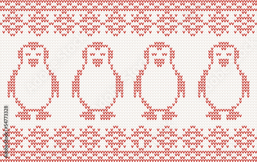Knitted Background with penguins