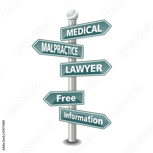 medical malpractice lawyer icon as signpost - NEW TOP TREND