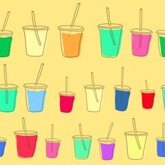 Set of vector milk shake. Isolated on white background.