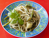 Linguine with pesto, potatoes and peas