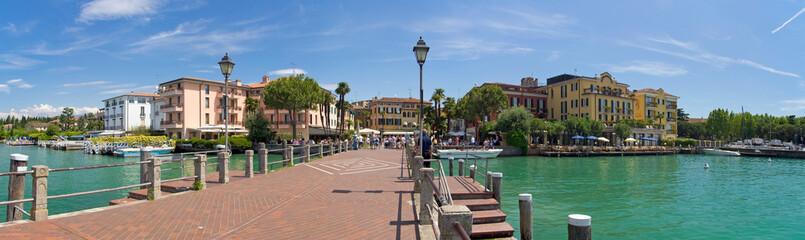 Sirmione, Gardasee, panorama, hafen, anleger, kai, italien