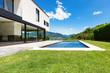 Leinwanddruck Bild - Modern villa , outdoor, view from garden