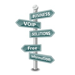 BUSINESS VOIP SOLUTIONS icon as signpost - NEW TOP TREND