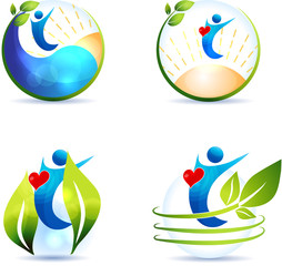 Healthy lifestyle symbol collection.