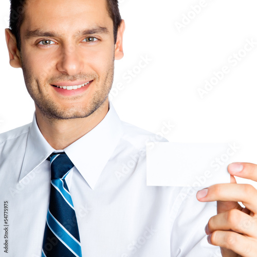 Man showing blank business or plastic card