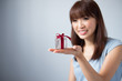 Asian Girl Holding Gift Box