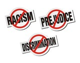 anti racism, anti prejudice, anti discrimination sticker sign