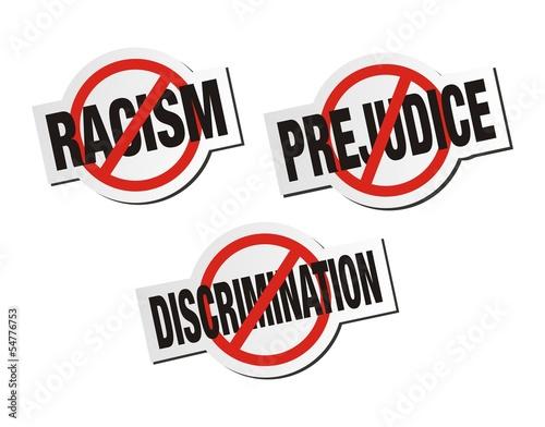 anti racism, anti prejudice, anti discrimination sticker sign