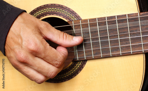 human hand playing guitar