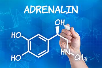 Hand  zeichnet chemische Strukturformel von Adrenalin