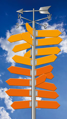 Wegweiser, Richtung, Orientierung, Pfeile, Himmelsrichtung, Urla