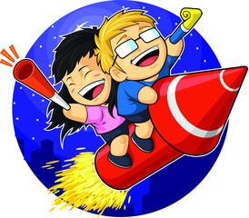 Cartoon of Boy & Girl Riding New Year Firework