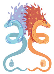 Snake of water and snake of fire.