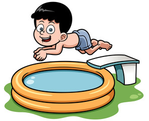 Vector illustration of Cartoon boy diving in pool