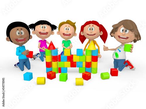 3D kids playing
