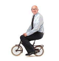 businessman pedaling