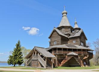 Ancient wooden orthodox church in Novgorod, Russia
