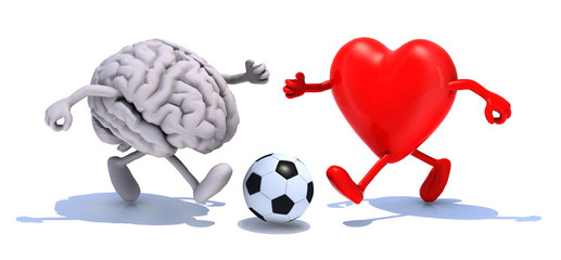 brain and heart with his arms and legs running to a soccer ball