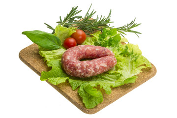Salami with rosemary, salad and tomatoes