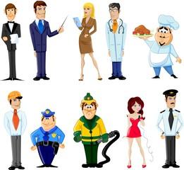Герои мультфильмов менеджер, шеф-повар, полицейский
