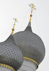 Russian Orthodox domes of Assumption cathedral in Rostov, Russia