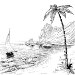 Sea beach, boat and palm tree vector sketch