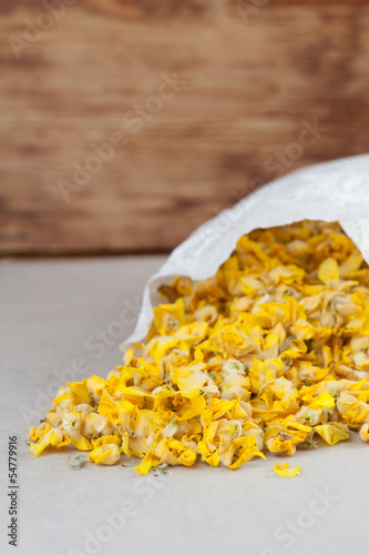 Dry mullein flowers in a paper bag