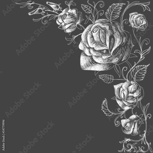 Roses decoration over dark background - 54779996