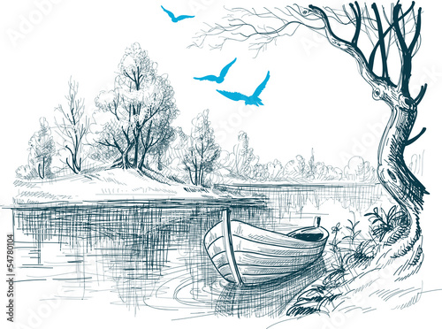 Boat on river / delta vector sketch - 54780104