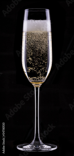 glass of champagne isolated on black background - 54780130