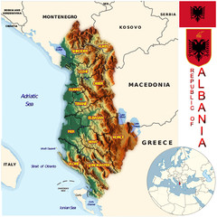 Albania Europe national emblem map symbol location