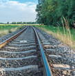 Curved railroad tracks