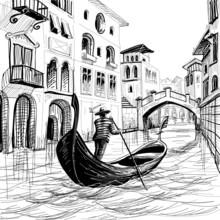 Gondole à Venise vecteur sketch