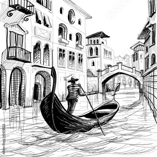 Gondola in Venice vector sketch - 54781123