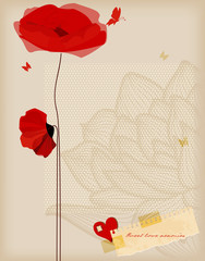 Floral background, poppies and butterfly romantic card, retro st