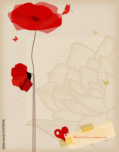 Tuinposter Abstract bloemen Floral background, poppies and butterfly romantic card, retro st
