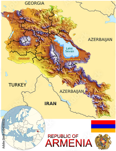 Armenia Asia national emblem map symbol location