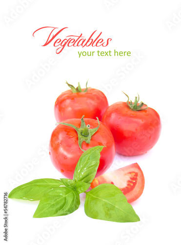 tomato with leaf of basil isolated on white