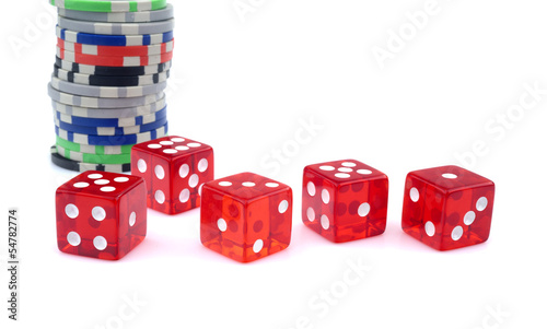 Red dice and chips on white background