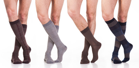 collection of man socks on foot