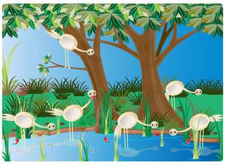 cartoon bird in its natural habitat