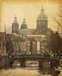 Oudezijds Voorburgwal , Amsterdam, Netherlands.  Paper texture.
