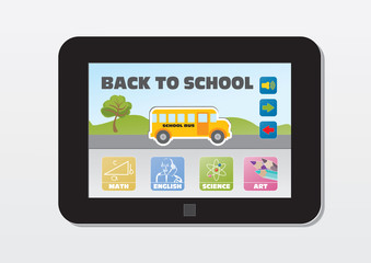 e-learning, back to school, school subjects buttons