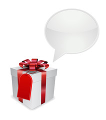 gift box with tag and speech bubble 3d